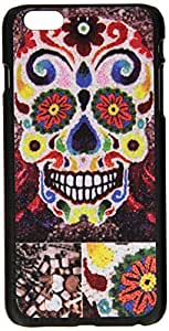 JUJEO Flowered Skull Hard Case Accessory for iPhone 6 Plus 5.5-Inch - Non-Retail Packaging - Red