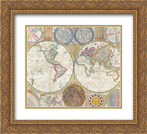 Map of The World in Hemispheres 34x28 Gold Ornate Frame and Double Matted Art Print by Dunn, Samue.