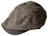 MINAKOLIFE Mens Vintage Style 'Shelby' Cloth Cap Hat Twill Cabbie Hat Gatsby Ivy Cap Irish Hunting Newsboy Stretch (58cm(M-L), Brown)