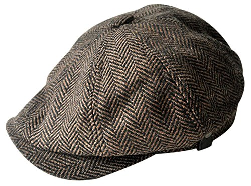 MINAKOLIFE Mens Vintage Style 'Shelby' Cloth Cap Hat Twill Cabbie Hat Gatsby Ivy Cap Irish Hunting Newsboy Stretch (56-58cm, Brown)