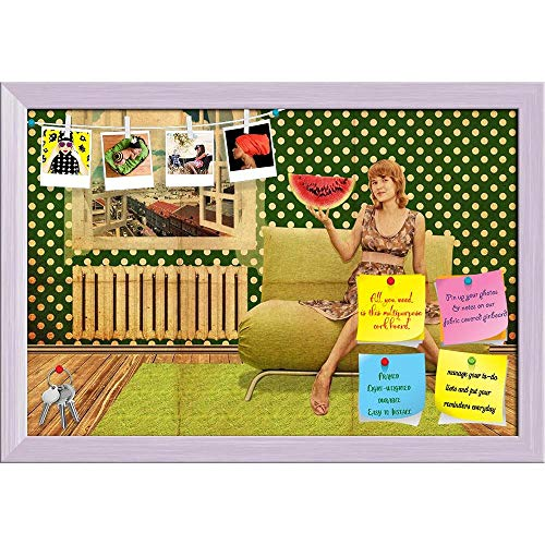 Artzfolio Young Woman in Vintage Room Printed Bulletin Board Notice Pin Board Cum White Framed Painting 17.5 X 12Inch