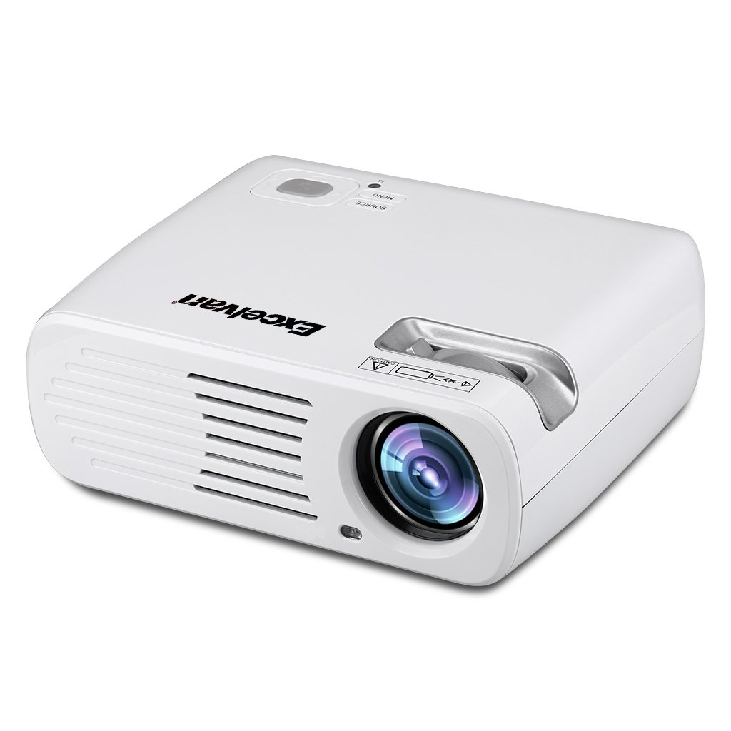 Excelvan 2600 Lumens 200'' Portable Mini LED HD 1080P Multi-media LCD 3D Indoor Outdoor Home Cinema Theater Projector (White)