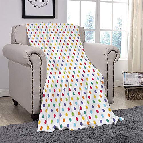 da3804a6691c1 YOLIYANA Light Weight Fleece Throw Blanket/Abstract,Colorful Polka Dots  Round Circular Vintage Fashion Girls Feminine Baby Design  Decorative,Multicolor/for ...