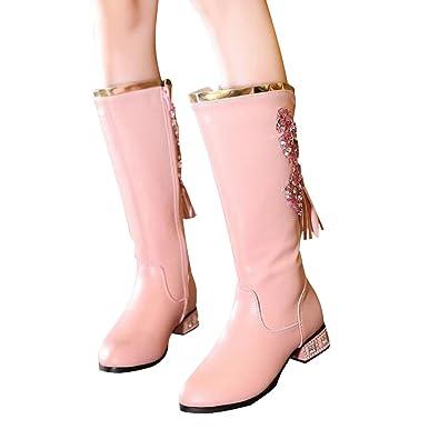 6ea512280c710 BININBOX Girls Tassel Low-Heels Knee High Boots Leather Princess Winter  Boots Kids