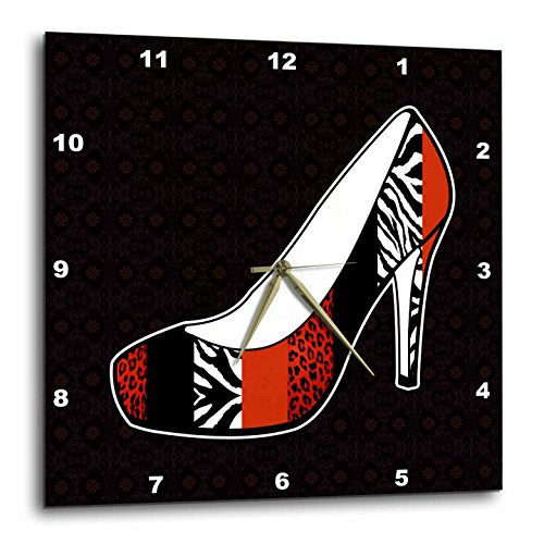 3dRose DPP_57145_3 I Love Shoes Animal Print High Heel Shoe Red Cheetah and Zebra Wall Clock, 15 by -