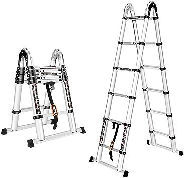 Extensibles Escalera plegable telescópica - Escalera de aluminio de usos múltiples - Extensible de 80 cm a 620 cm para trabajos en interiores al aire libre (Size : 2.8m+2.8m=straight 5.6m): Amazon.es: Bricolaje