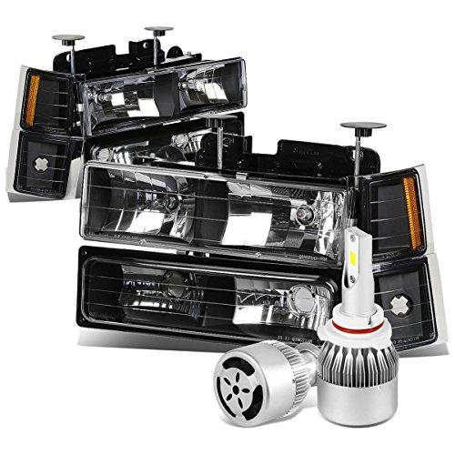 (For Chevy C/K Series GMT400 Facelifted 8pc Black Housing Headlight W/Amber Lens Corner Light + 9006 LED Kit W/Fan)