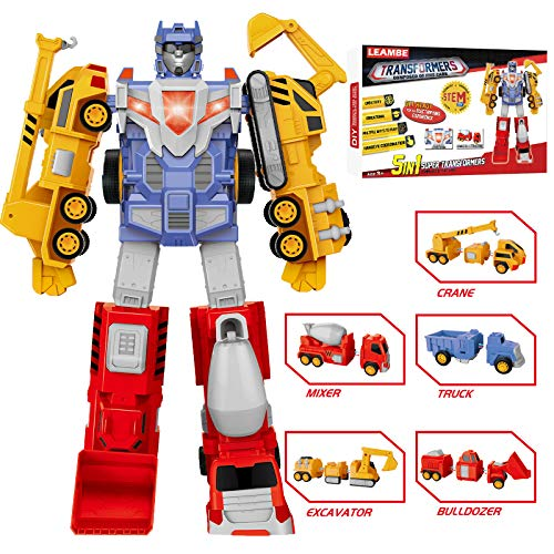 5-in-1 Construction Assemble Vehicles Toys, Toys for 4 5 6 7 Year Old Boys, STEM Building Toys for Kids, Construction Transform into Kids Pull-Back Toys and Robot, Birthday Gift for Kids, LEAMBE