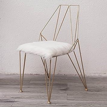 ANDEa Chaise en métal - chaise de maquillage salon chaise de restaurant Creative chaise ajourée or chaise taille