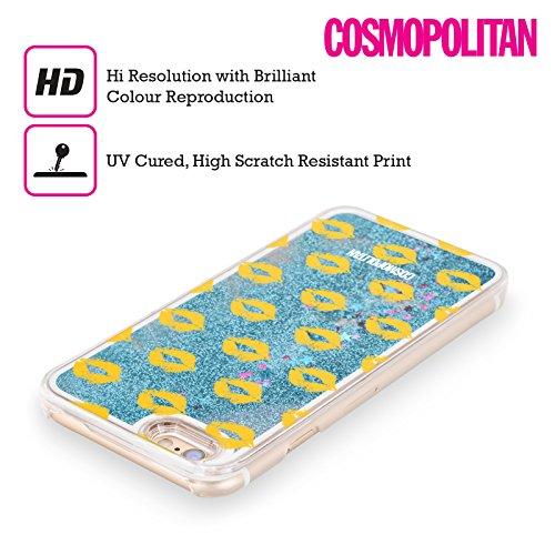Official Cosmopolitan Gold Kiss Mark Sky Blue Liquid Glitter Case Cover for Apple iPhone 5 / 5s / SE