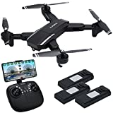 RC Drone, Inkpot Q39 WiFi FPV Foldable Drone 120 Degree Wide Angle 720P HD Camera Quacopter Gravity Sensor APP/Remote Control Helicopter with 3 Batteries Headless Mode Flight Path Altitude Hold