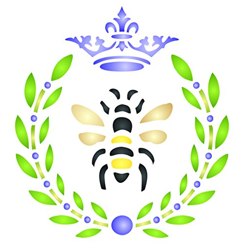 French Bee Stencil - 4.5 x 5 inch (S) - Reusable Crown Laurel Wreath French Country Bee Wall Stencil Template - Use on Paper Projects Scrapbook Journal Walls Floors Fabric Furniture Glass Wood etc.