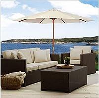 Patio Furniture-Patio Umbrella-Premium® Patio Furniture 10Ft Wooden Patio Umbrella Sun Shade Wood Pole Outdoor Beach Cafe Garden Beige