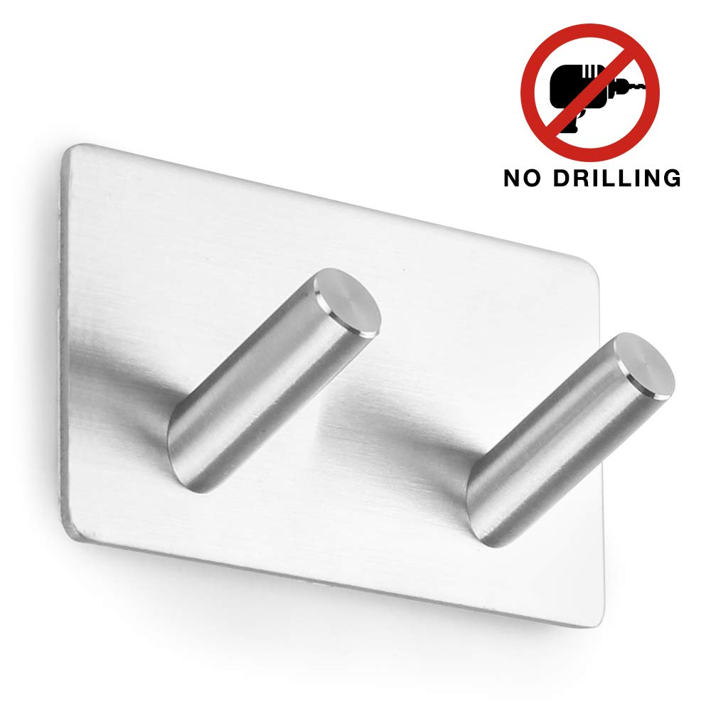 Self Adhesive Hooks Heavy Oblique Hook Duty Stainless Towel Hook for Kitchen Bathrooms Lavatory Closets, Water and Rust Proof (2 Hooks) OYSHOPP