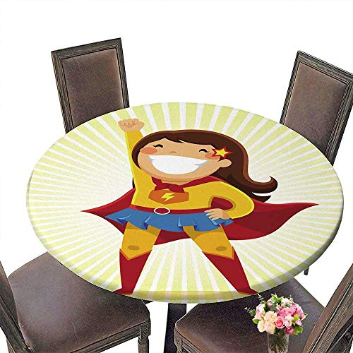 PINAFORE Round Table Tablecloth Little Girl in a Superhero Costume Standing in a Heroic Position for Wedding Restaurant Party 43.5