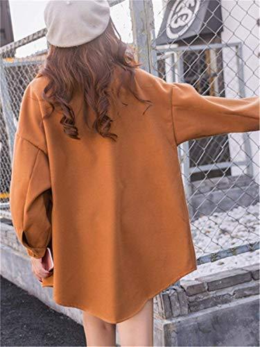 Autunno Mode Coat Lunghe Marca Facile Single Relaxed Donna Libero Breasted Kahki Transizione Bavero Bolawoo Di Eleganti Outwear Primaverile Tempo Maniche Cappotto Giorno Monocromo lJFKT1c