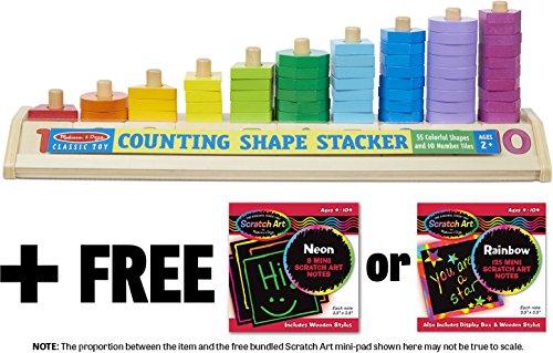 Counting Shape Stacker + FREE Melissa & Doug Scratch Art Mini-Pad Bundle [92753]