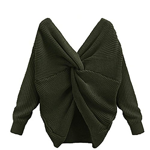 Green Shirt Capilene (Tops Women's V-Neck Off Shoulder Long Sleeve Twisted Back Knitted Jumper Pullover Blouse)