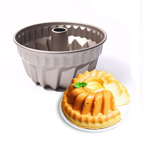 MZCH 7 inch Non-stick Bundt Pan, Heavy-duty Carbon Steel Fluted Tube Pan, FDA Approved, Champagne Gold by MZCH