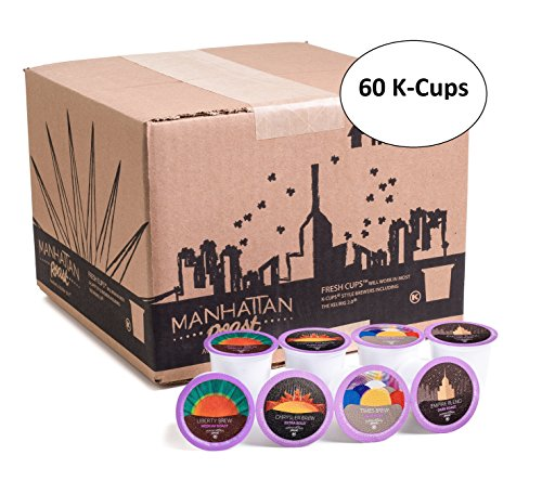 Manhattan Roast Kind Pack of 4 Signature Blends 'Empire Blend 'Times Brew 'Liberty Brew 'Chrysler Brew' Single Be in the service of Coffee Freshcup works in most Keurig KCup Brewers 60 Count Box