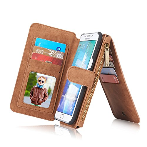 RAYTOP 15-Slot Card Holders, Samsung Galaxy S6 Edge Plus Case, Inside Cover Removable from Wallet, Button + Zip + Magnet Closure, Multiple Pockets for Money / ID Cards / Driving License, Retro Brown (Zip Pocket Button)