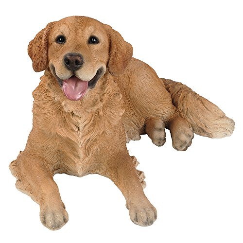 Golden Statue - Realistic Life Size Golden Retriever Statue Detail Sculpture Glass Eyes Hand Painted Resin 24 inch Figurine Home Decor Amazing Likeness
