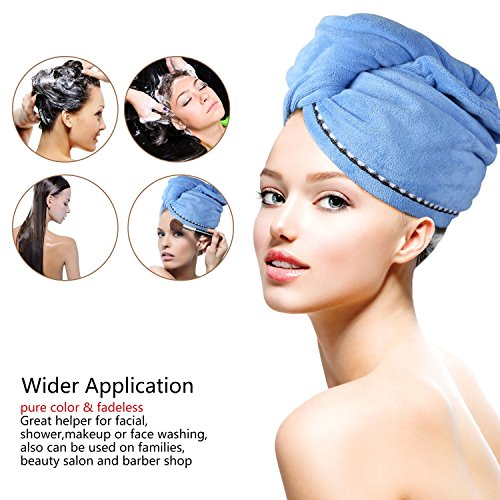 2 Pack Hair Towel Wrap Turban Microfiber Drying Bath Shower Head Towel with Buttons, Quick Magic Dryer, Dry Hair Hat, Wrapped Bath Cap By Duomishu