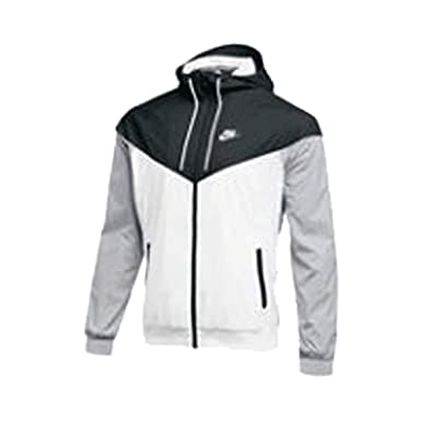 buy popular fresh styles shop for newest Nike Mens Windrunner Full Zip Hooded Jacket White/Black-Grey ...