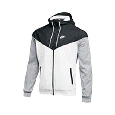 4f6b0fc18a6d Nike Mens Windrunner Full Zip Hooded Jacket White Black-Grey Size ...