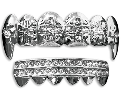 Hip Hop Platinum Silver Plated Removeable Mouth Grillz Set (Top & Bottom) (Fang Set Cross)