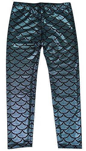 Simplicity Girls Mermaid Scale Print Full Length Leggings Tight Pants, Blue, S