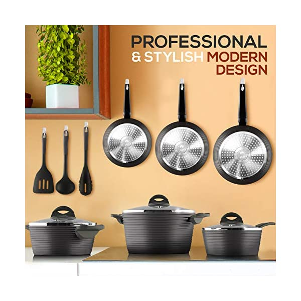 NutriChef 12-Piece Nonstick Kitchen Cookware Set - Professional Hard Anodized Home Kitchen Ware Pots and Pan Set… 2