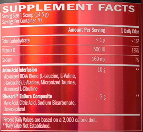 BSN Amino X Post Workout Muscle Recovery & Endurance Powder with 10 Grams of Amino Acids Per Serving, Flavor: Strawberry Orange, 70 Servings