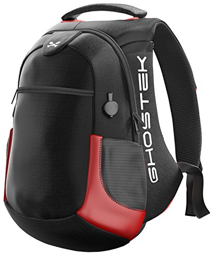 NRGbag2 15.6-Inch Laptop Bag, Ghostek Intelligent Tech Backpack with USB Charging Ports Briefcase Messenger Sleeve Case 16000mAh Included Macbook Acer HP Dell Lenovo Boys Girls Men Women (Red)