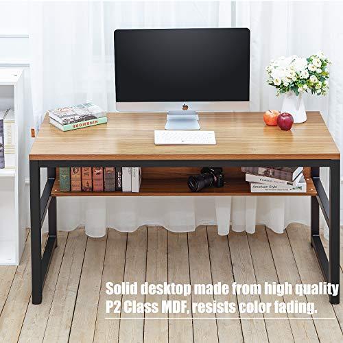 TOPSKY 55'' Computer Desk with Bookshelf/Metal Desk Grommet Hole Wire Cover (Oak_Brown+Black Frame) by TOPSKY (Image #3)