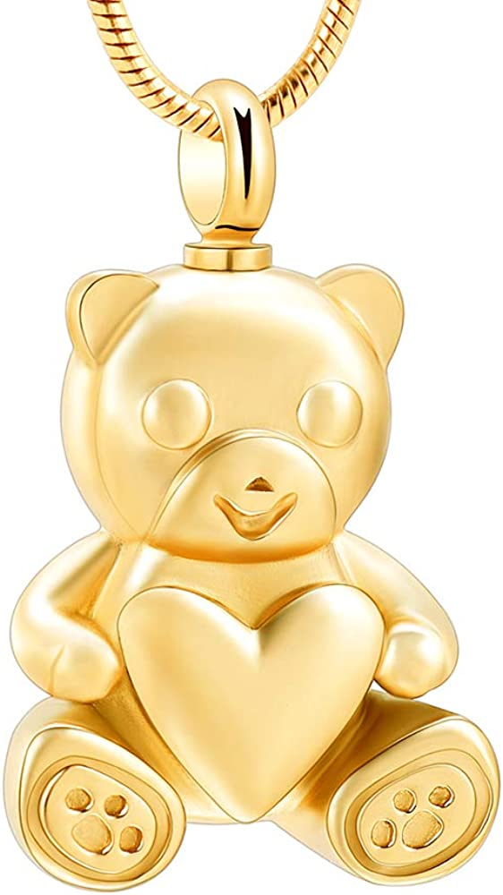 Stainless Steel Teddy Bear Pet Urn Ashes Pendant Memorial Ash Keepsake Cremation Jewelry Necklace