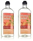 Lot of 2 Bath & Body Works Aromatherapy Stress Relief Eucalyptus Tangerine Body Wash & Foam Bath 10 Fl. Oz