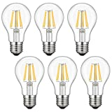 Dimmable Edison LED Bulb, Soft Warm White 2700K, Kohree 6W Vintage LED Filament Light Bulb, 60W Incandescent Equivalent, A19 E26 Medium Base Lamp for Restaurant,Home,Reading Room, 6-Pack(NOT Daylight)