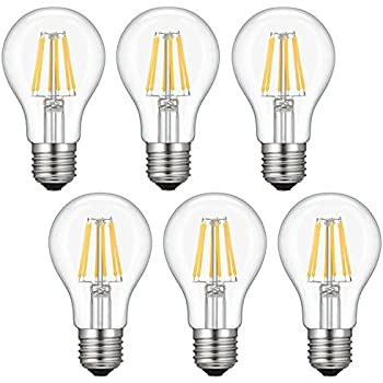 ... Kohree 6W Vintage LED Filament Light Bulb, 60W Incandescent Equivalent, A19 E26 Medium Base Lamp for Restaurant,Home,Reading Room, 6-Pack(NOT Daylight)