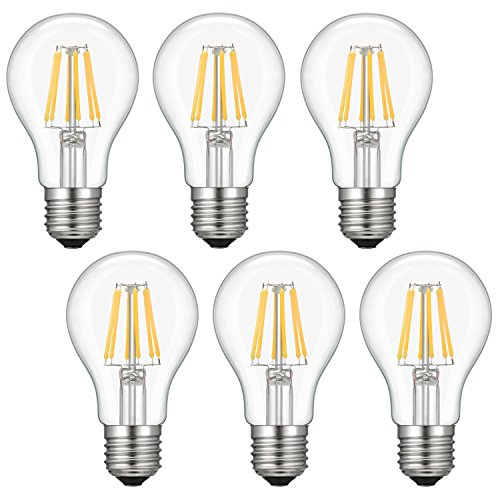 Dimmable Edison LED Bulb, Soft Warm White 2700K, Kohree 6W Vintage LED Filament Light Bulb, 60W Incandescent Equivalent, A19 E26 Medium Base Lamp for Restaurant,Home,Reading Room, 6-Pack(NOT Daylight) ()
