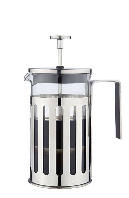 MW Creations Cafetera de émbolo con marco, mango y tapa en acero inoxidable, Prensa