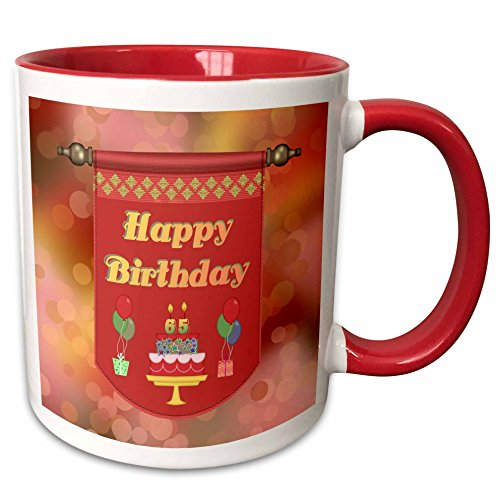 - 3dRose Beverly Turner Birthday Design - Happy 65th Birthday Banner, Cake with Gifts and Balloons - 15oz Two-Tone Red Mug (mug_186511_10)