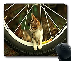 "Cute Kitten On The Wheel Custom Standard Oblong Gaming Mousepad in 220mm*180mm*3mm (9""*7"") -10112037"