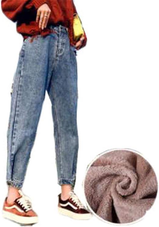 [セイーワイ] デニム パンツ ストレート レディース ハイウェスト 裏起毛 ワイドパンツ 厚手 ズボン 保温 ボトムス 着やせ シルエット あったかい ハーレムパンツ