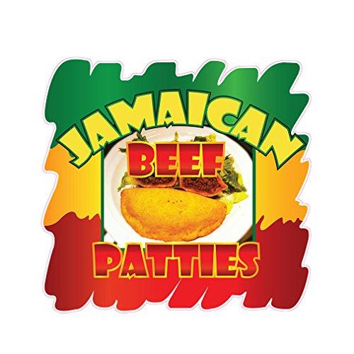 Jamaican Beef Patties Concession Restaurant Die-Cut Window Static Cling 10 inches Inside - Cut 10 Die Inch Film Window