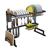 Kitchen storage Kitchen Racks Sink Dish Rack Drain Kitchen Supplies Black Stainless Steel Storage Rack Finishing Rack (Size : 65cm52cm32cm)