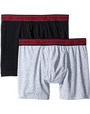 Men's 2 Pack Cotton Performance Black Grey Short Leg Boxer Brief
