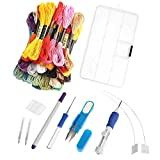 Magic Embroidery Pen, LEDOWP Embroidery Stitching Punch Needles Craft Tool Set Including 50 Color Threads for DIY Sewing Cross Stitching