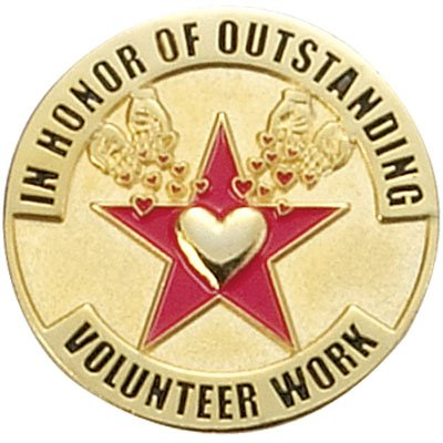In Honor of Outstanding Volunteer Work Lapel Pin - Pack of 10 (Volunteer Pins Award)