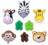 "Animal Safari Zoo Foil Balloons .Jumbo Size 36"" Zebra, Giraffe, Monkey, Caw And Tiger. 12'' 3.2 Helium Latex Pearl Balloons -Light Green,Dark Green And Brown . 29 Count."